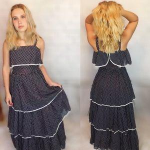 Vintage Triple Tiered Polka Dot Maci Dress